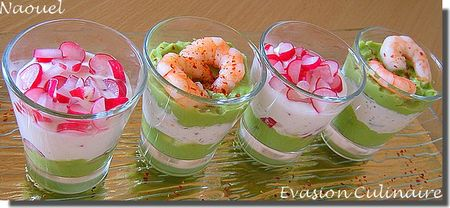 Verrines duo avocat cr me de crevettes et avocat for Entrees legeres faciles