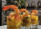 verrines exotiques de crevettes au citron confit