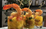 verrines exotiques de crevettes au citron confit