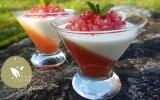 Verrines à l'hibiscus, grenade et yaourt au gingembre